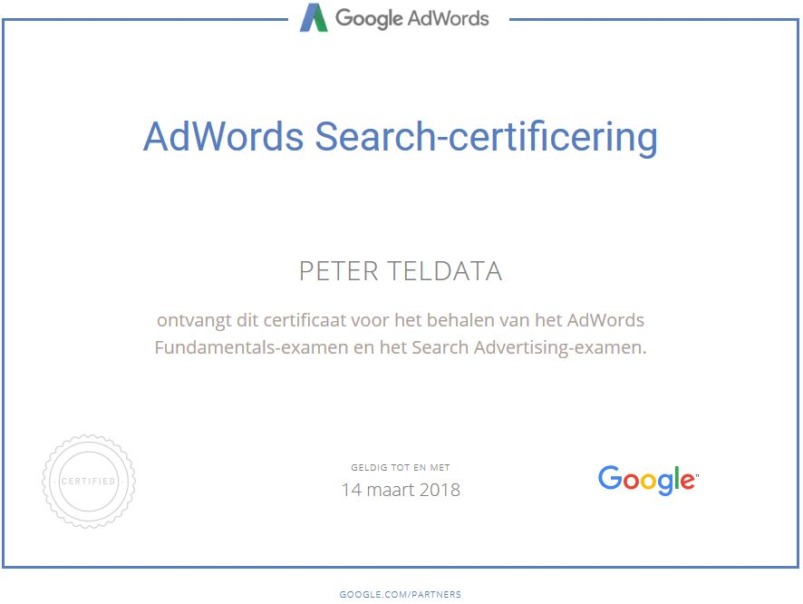 Google Adwords Partner Certificaat
